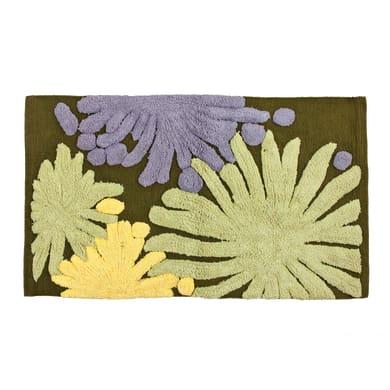 Tappeto bagno rettangolare Splash in cotone verde 80 x 50 cm