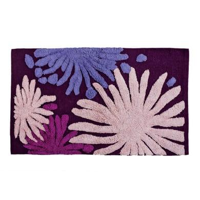 Tappeto bagno rettangolare Splash in cotone viola 80 x 50 cm