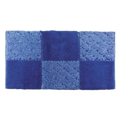 Tappeto bagno rettangolare Tile in cotone azzurro, blu 90 x 55 cm