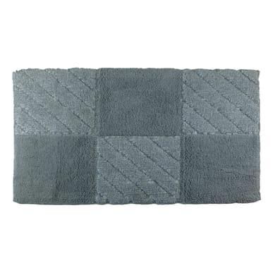 Tappeto bagno rettangolare Tile in cotone grigio 90 x 55 cm