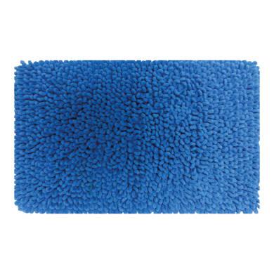 Tappeto bagno rettangolare Time in cotone blu 80 x 50 cm