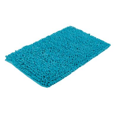 Tappeto bagno rettangolare Time in cotone azzurro 80 x 50 cm