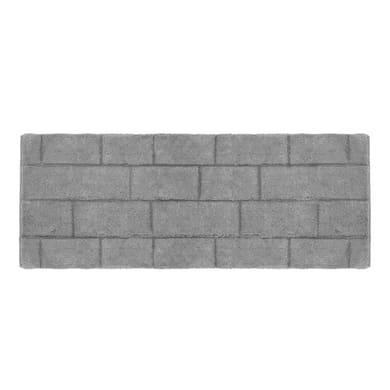 Tappeto bagno rettangolare Wall in cotone grigio 140 x 55 cm