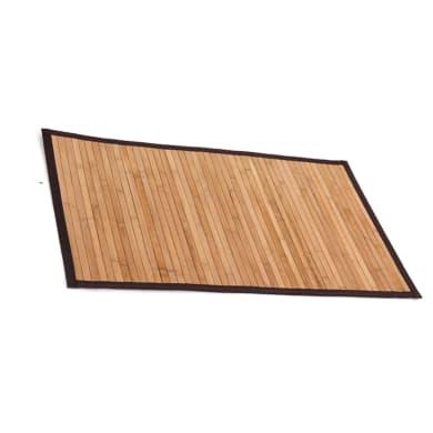 Tappeto bagno rettangolare Bamboo in bambù marrone 80 x 50 cm