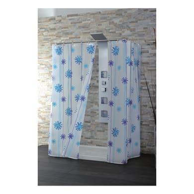 Tenda doccia Buenos Aires in peva bianco/azzurro L 180 x H 200 cm