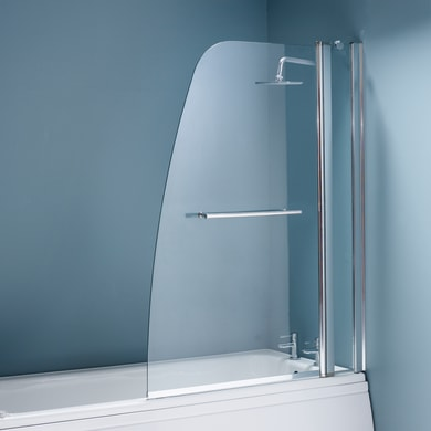 Parete vasca Squad in vetro di sicurezza 6 mm trasparente H 143 cm