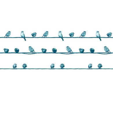 Tenda doccia Birdies in vinile blu L 240 x H 200 cm