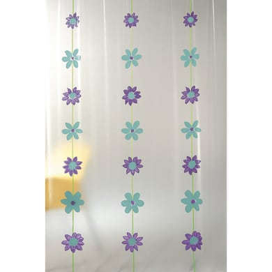 Tenda doccia Bouquet in vinile verde L 180 x H 200 cm