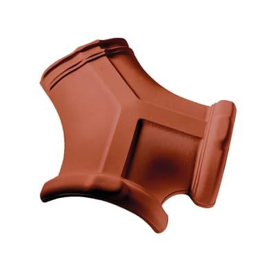 Colmo a tre vie per tegola Portoghese in terracotta 21 x 21 cm rosso