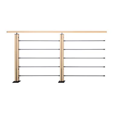 Balaustra in legno L 200 x H 101 cm nero