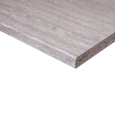 Piano di lavoro in legno grigio L 204 x P 60 cm, spessore 2.8 cm