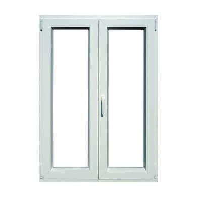Finestra in pvc bianco L 100 x H 140 cm, 2 ante oscillo-battente apertura destra