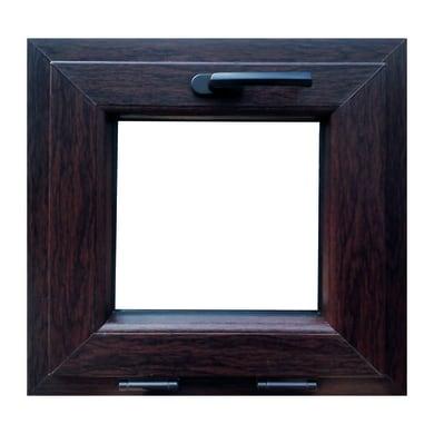 Finestra in pvc noce scuro L 60 x H 60 cm, 1 anta vasistas apertura superiore