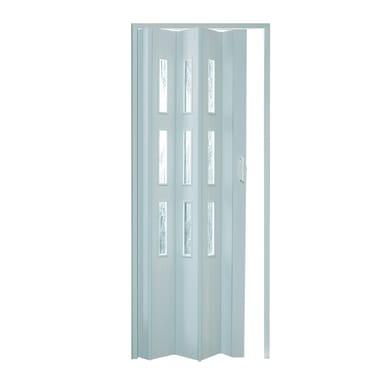 Porta a soffietto vetrata Basic in pvc bianco L 83 x H 214 cm