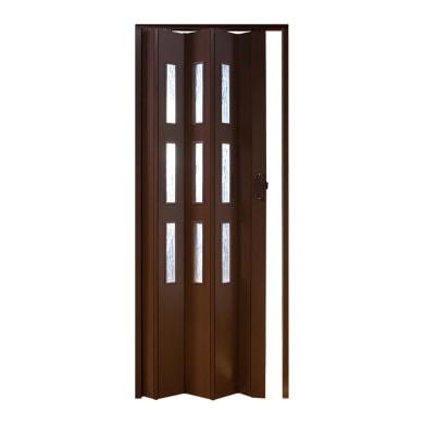 Porta a soffietto vetrata Basic in pvc marrone L 83 x H 214 cm