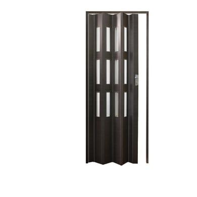 Porta a soffietto vetrata Luciana in pvc grigio / argento L 86 x H 214 cm