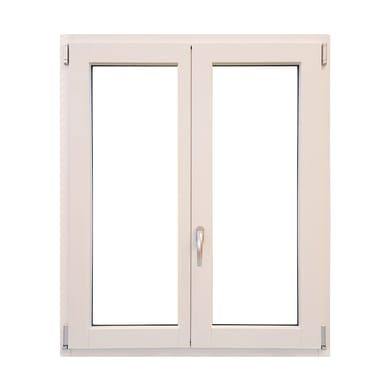 Finestra in legno bianco L 100 x H 120 cm, 2 ante oscillo-battente apertura sinistra