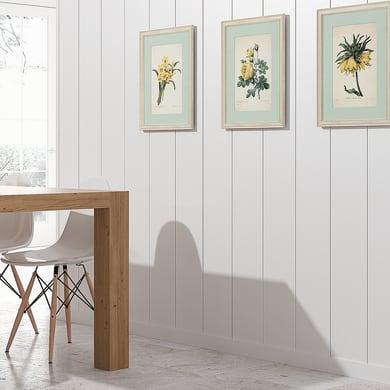 Perlina mdf opaco bianco 1° scelta L 218 x H 20 cm Sp 8 mm