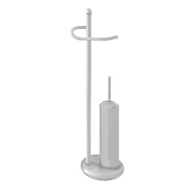 Piantana porta rotolo e porta scopino wc Romantica/2/40 bianco anticato