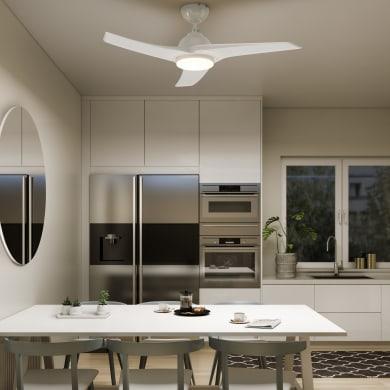 Ventilatore da soffitto LED integrato Aruba plus, bianco , D. 112 cm, con telecomando INSPIRE
