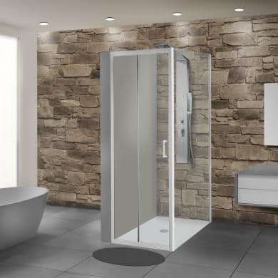 Box doccia angolare porta scorrevole e lato fisso rettangolare Sinque 140 x 70 cm, H 190 cm in vetro temprato, spessore 5 mm trasparente bianco