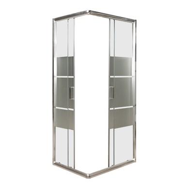 Box doccia rettangolare 2 ante fisse + 2 ante scorrevoli HOLAY 90 x 70 cm, H 190 cm in alluminio e vetro, spessore 8 mm trasparente con strisce cromato