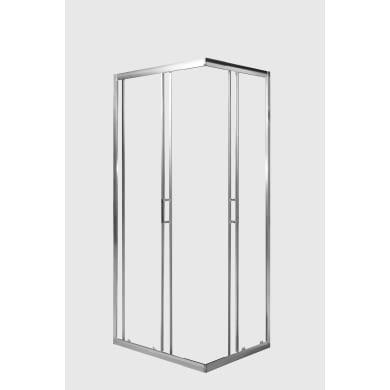 Box doccia rettangolare 2 ante fisse + 2 ante scorrevoli HOLAY 90 x 68 cm, H 190 cm in alluminio e vetro, spessore 6 mm trasparente cromato