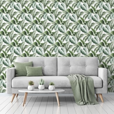 Carta da parati Foglie tropicali verde, 53 cm x 10 m