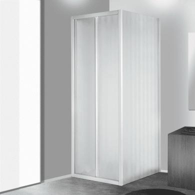 Box doccia angolare con porta pieghevole e lato fisso rettangolare Plumin  90 x 70 cm, H 185 cm in vetro temprato, spessore 3 mm acrilico piumato bianco