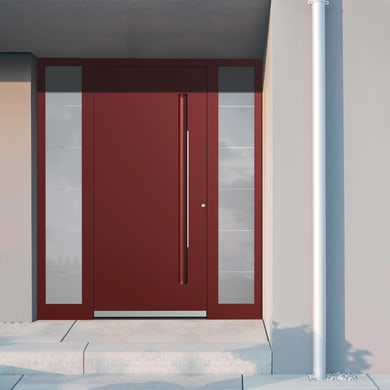 Portoncino d'ingresso QE10 rosso L 170 x H 210 cm sinistra
