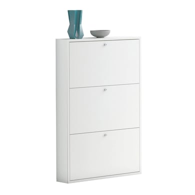Scarpiera Slim 3 ante L 73 x H 110 x Sp 15 cm bianco