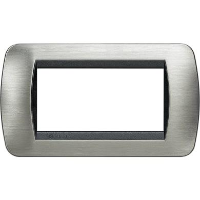 Placca BTICINO Living International 4 moduli acciaio spazzolato