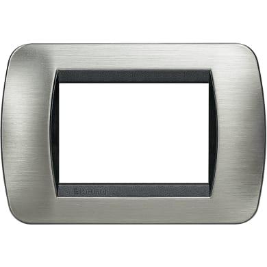 Placca BTICINO Living International 3 moduli acciaio spazzolato
