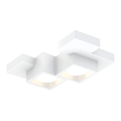 Plafoniera design Side small bianco, in gesso, 2  luci SFORZIN