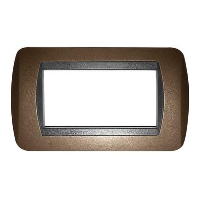 Placca Living International CAL 4 moduli marrone elegance