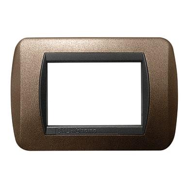 Placca CAL Living International 3 moduli marrone elegance compatibile con living international
