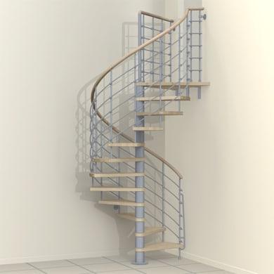 Scala a chiocciola tonda Inside FONTANOT L 120 cm, gradino naturale, struttura grigio