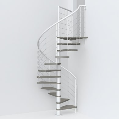 Scala a chiocciola tonda Symphonie FONTANOT L 140 cm, gradino tortora, struttura bianco