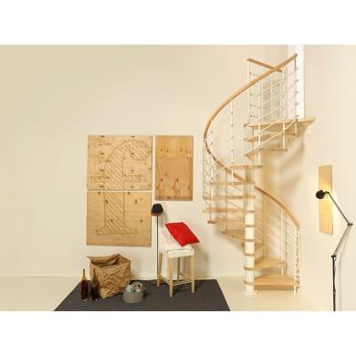 Scala a chiocciola tonda Inside FONTANOT L 140 cm, gradino naturale, struttura bianco