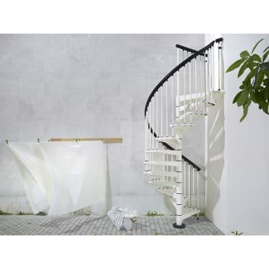 Scala a chiocciola tonda Lucia FONTANOT L 140 cm, gradino bianco, struttura bianco