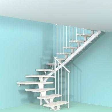 Scala a rampa due quarti di giro Mas FONTANOT L 85 cm, gradino bianco, struttura bianco