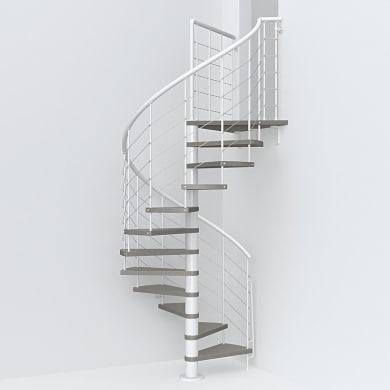 Scala a chiocciola tonda Symphonie FONTANOT L 120 cm, gradino tortora, struttura bianco