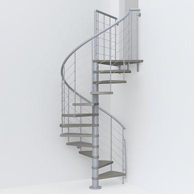 Scala a chiocciola tonda Symphonie FONTANOT L 140 cm, gradino tortora, struttura grigio