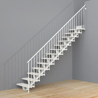 Scala a rampa dritto Mas FONTANOT L 85 cm, gradino bianco, struttura bianco