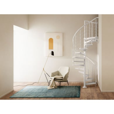 Scala a chiocciola tonda Gexi FONTANOT L 160 cm, gradino bianco, struttura bianco