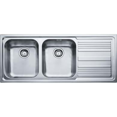 Lavello da incasso Logica line 116 x 50 cm 2 vasche con gocciolatoio
