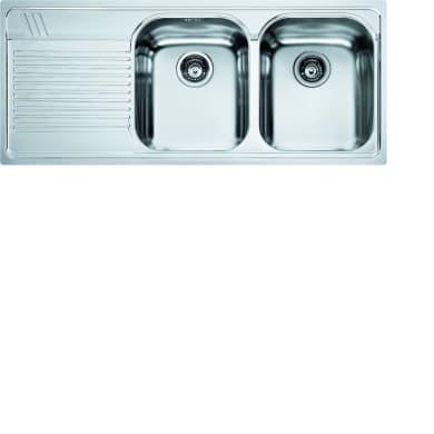 Lavello da incasso Armonia 116 x 50 cm 2 vasche con gocciolatoio
