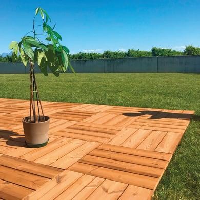 Piastrelle ad incastro ONEK Thermowood in legno pino 55 x 55 cm Sp 32 mm,  marrone