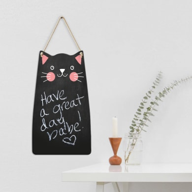 Lavagna per gesso S black cat nero e rosa e bianco 30x17 cm
