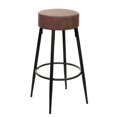 Sgabello Dallas seduta in similpelle marrone base in metallo